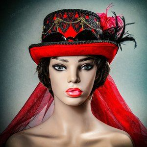Red Gothic Goggle Women Elegant Party Hat Steampun